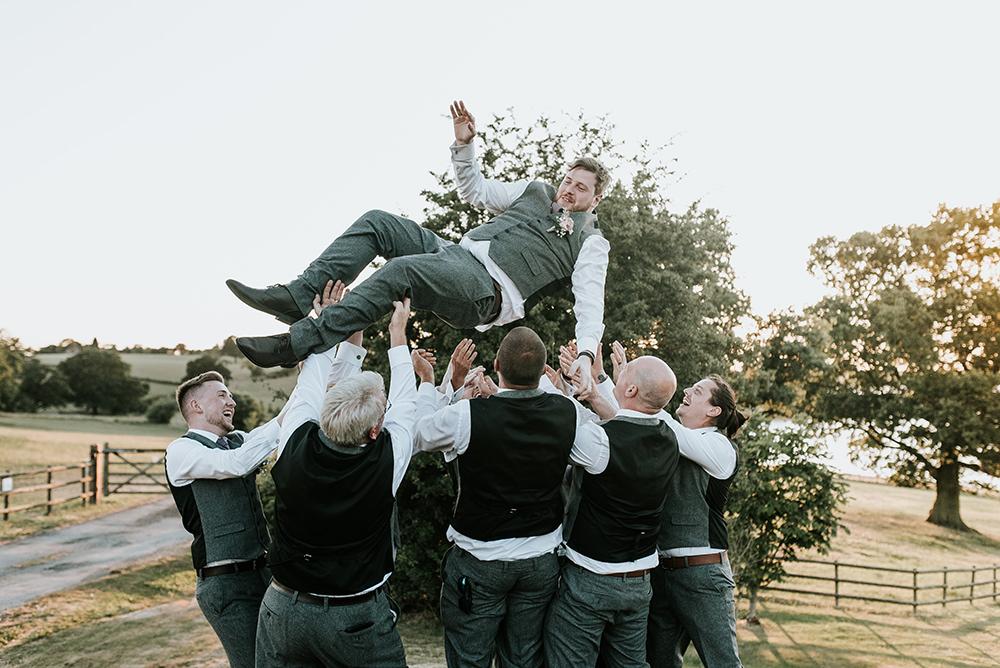 Groom Groomsmen Shot Tweed Waistcoat Trousers Grey Blithfield Lakeside Barns Wedding Daniel McClane Photography