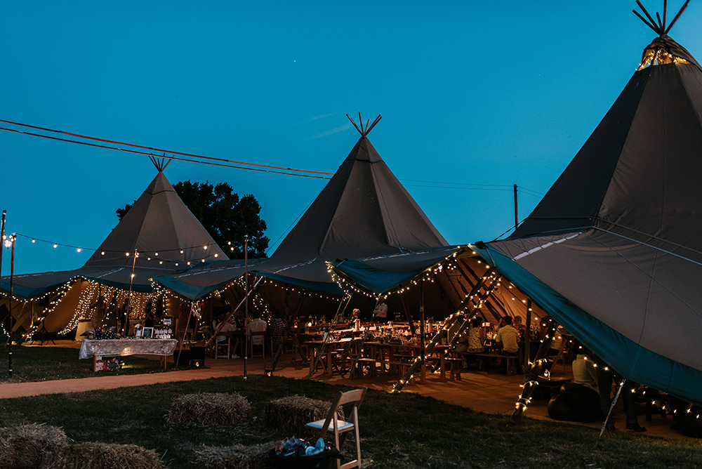 Tipi Fairy Lights Festoons Set Up Hay Bales Outdoor Blithfield Lakeside Barns Wedding Daniel McClane Photography