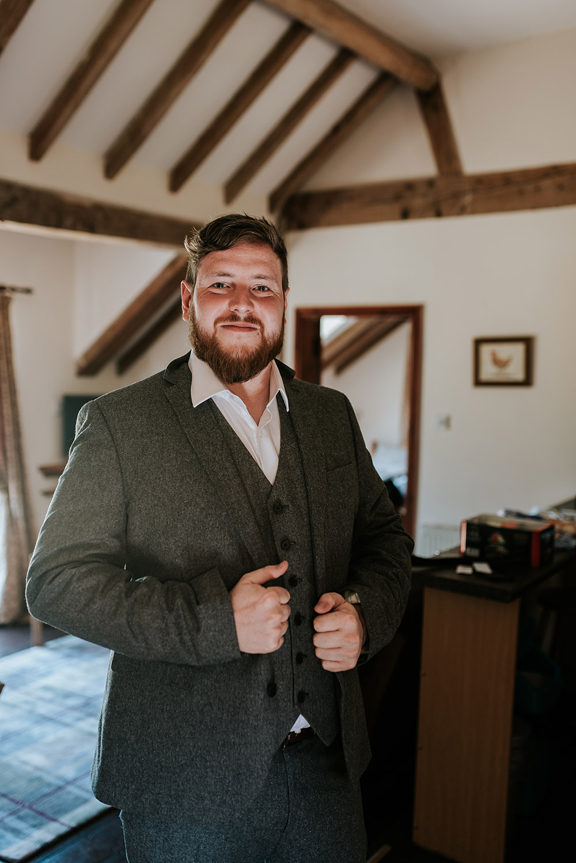 Groom Tweed Suit Blithfield Lakeside Barns Wedding Daniel McClane Photography