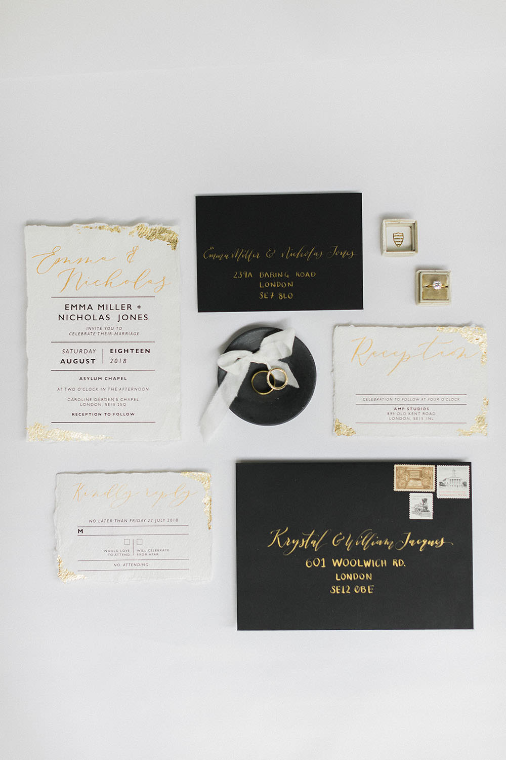 Black Stationery Suite Invitations Flay Lay Stationery Metallic Calligraphy Velvet Ring Box Burgundy Gold Wedding Ideas Sarah Porter Photography