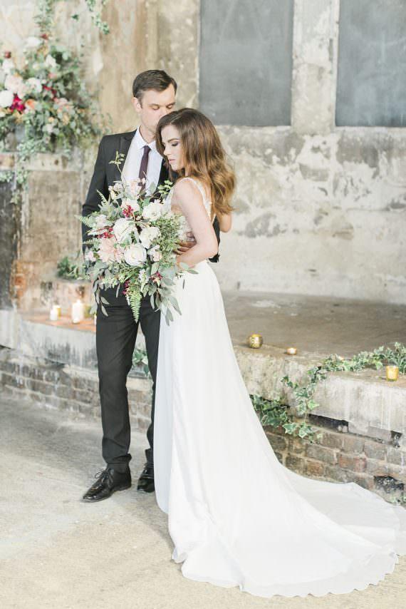 Dress Gown Bride Bridal Train Chiffon Straps Burgundy Gold Wedding Ideas Sarah Porter Photography