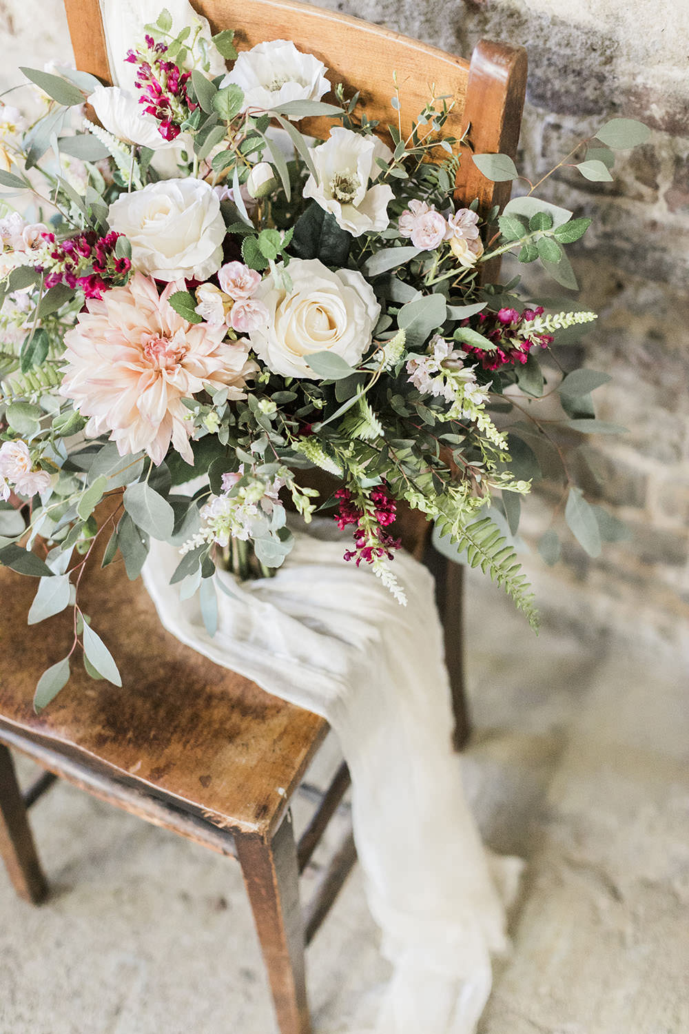 Bouquet Flowers Bride Bridal Greenery Foliage Rose Dahlia Fern Silk Ribbon Burgundy Gold Wedding Ideas Sarah Porter Photography