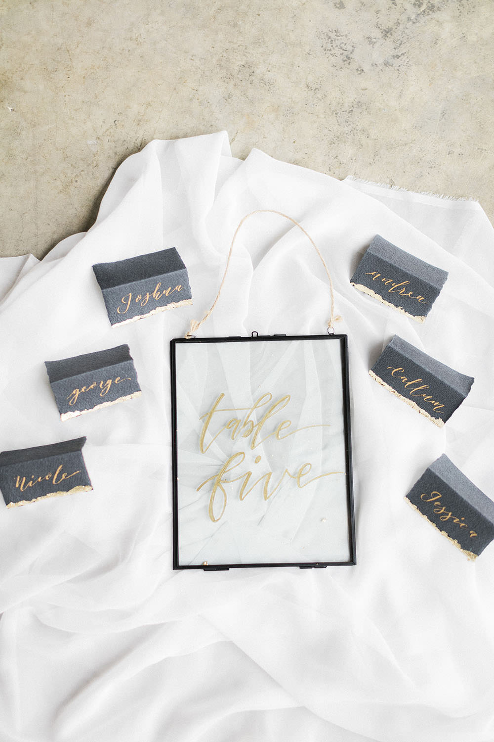 Black Calligraphy Metallic Place Name Card Stationery Glass Acrylic Perspex Table Number Sign Burgundy Gold Wedding Ideas Sarah Porter Photography