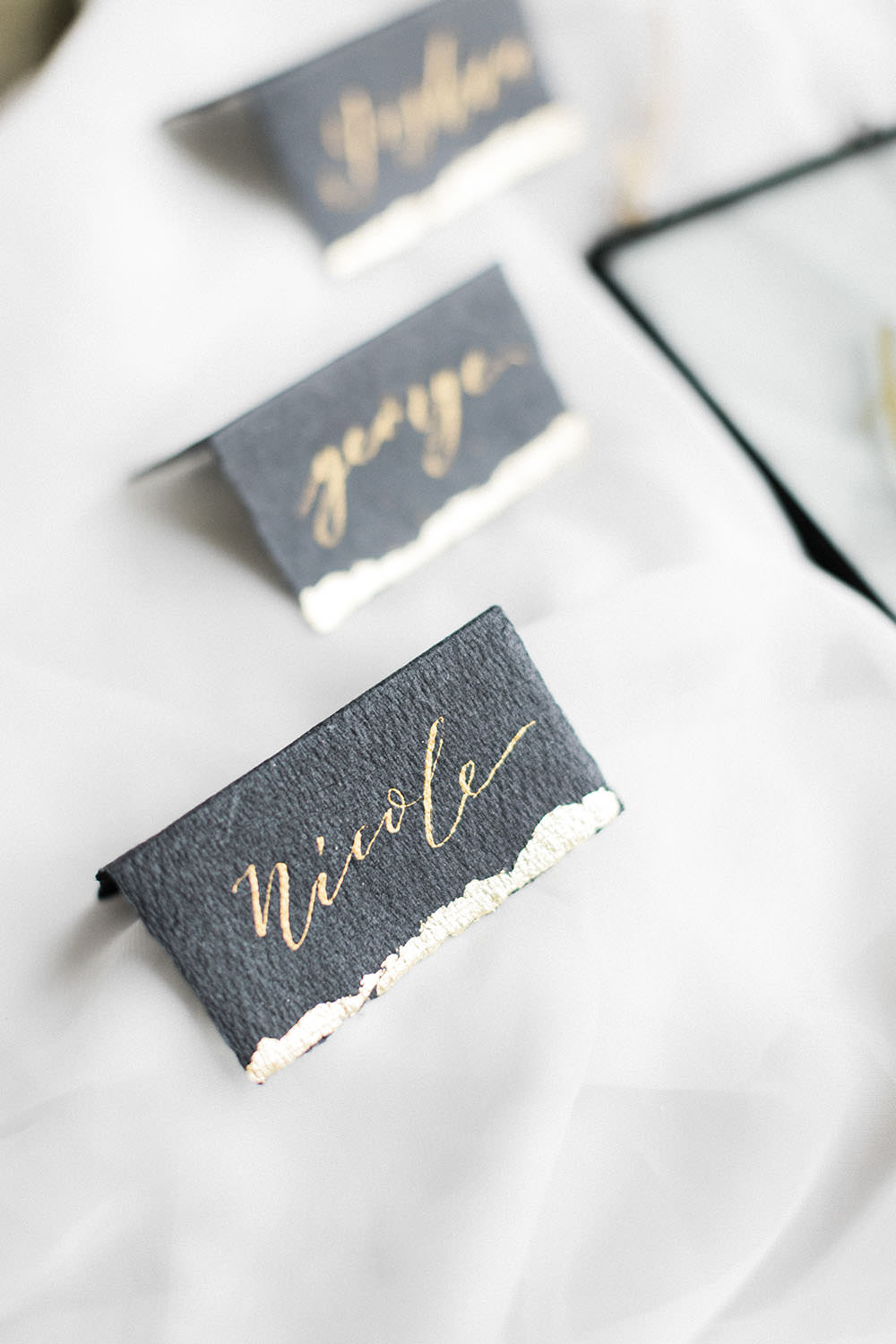 Black Calligraphy Metallic Place Name Card Burgundy Gold Wedding Ideas Sarah Porter Photography