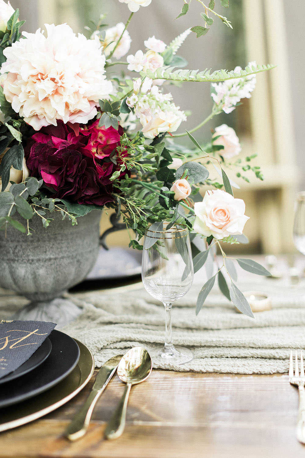 Table Flowers Greenery Centrepiece Blush Flowers Foliage Burgundy Gold Wedding Ideas Sarah Porter Photography
