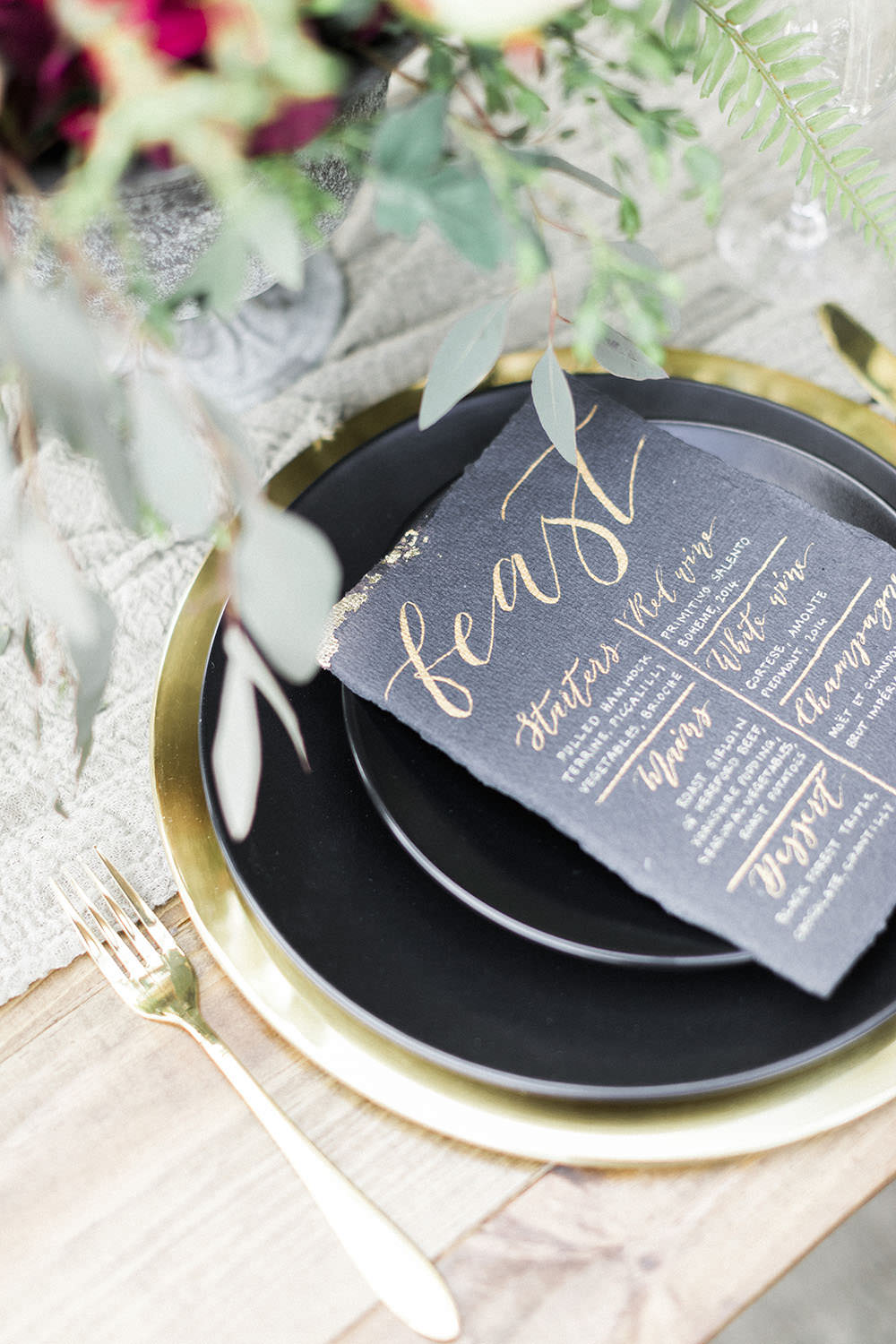 Black Calligraphy Metallic Menu Card Stationery Place Setting Plates Cutlery Burgundy Gold Wedding Ideas Sarah Porter Photography
