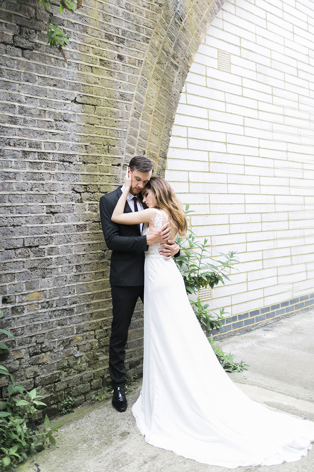 Dress Gown Bride Bridal Train Chiffon Straps Lace Flowers Burgundy Gold Wedding Ideas Sarah Porter Photography