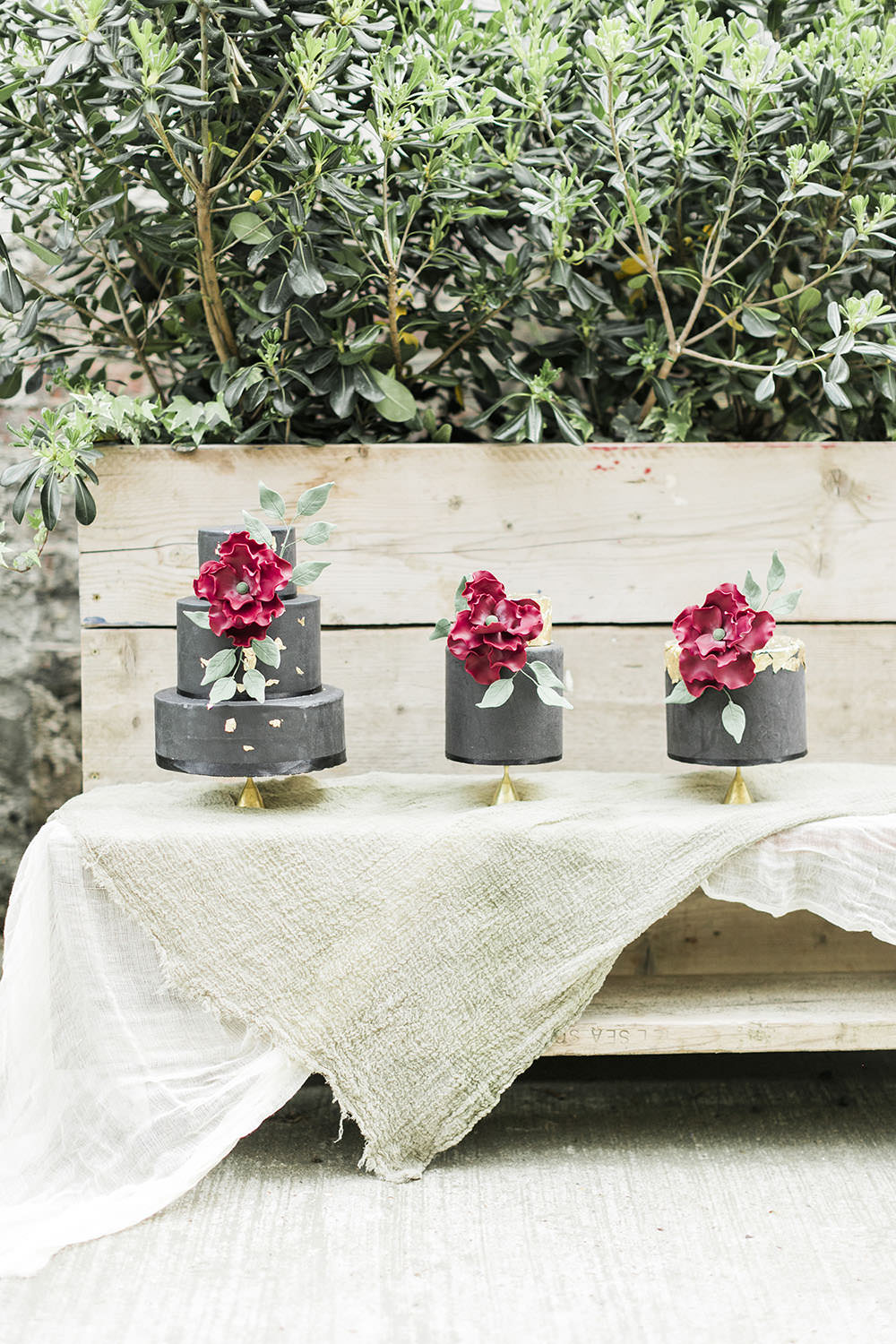 Cake Table Trio Linen Cloths Burgundy Gold Wedding Ideas Sarah Porter Photography