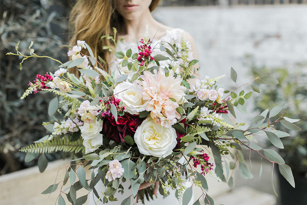 Bouquet Flowers Bride Bridal Greenery Foliage Rose Dahlia Fern Burgundy Gold Wedding Ideas Sarah Porter Photography