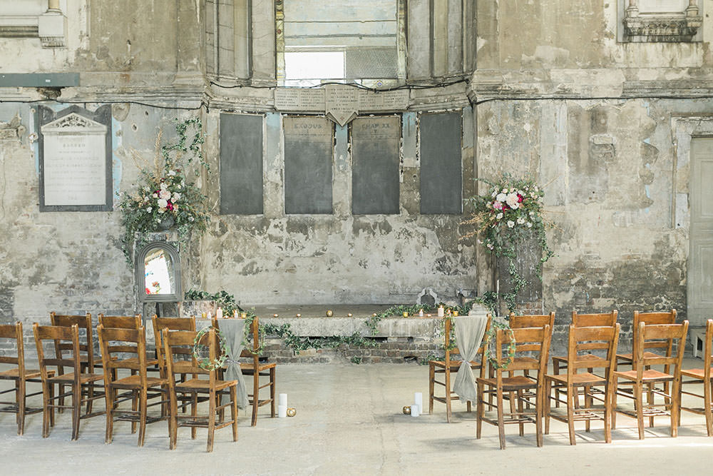 Asylum Chapel London Ceremony Rustic Chairs Flowers Burgundy Gold Wedding Ideas Sarah Porter Photography