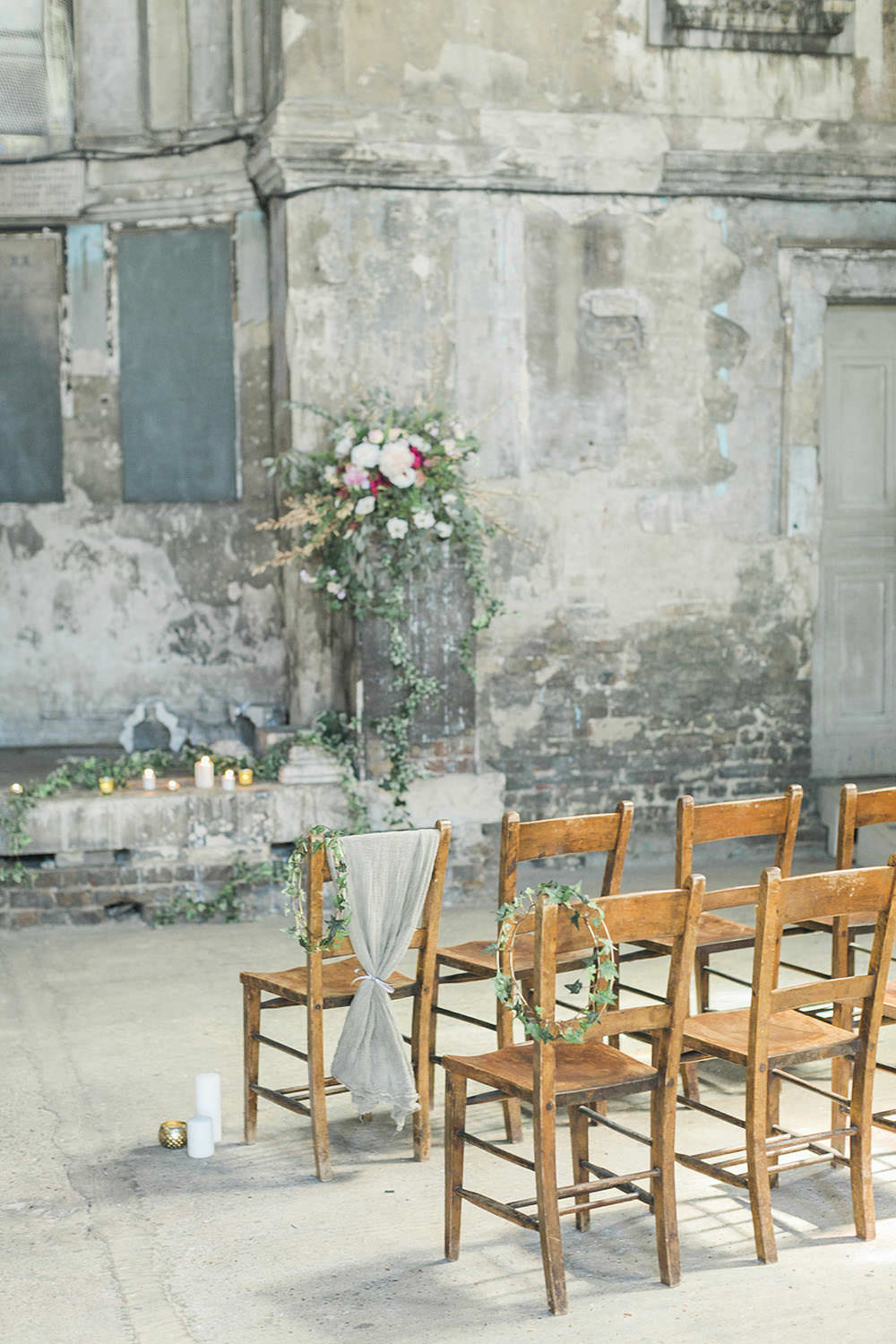 Pew End Chairs Aisle Ceremony Fabric Grey Silk Drapes Burgundy Gold Wedding Ideas Sarah Porter Photography