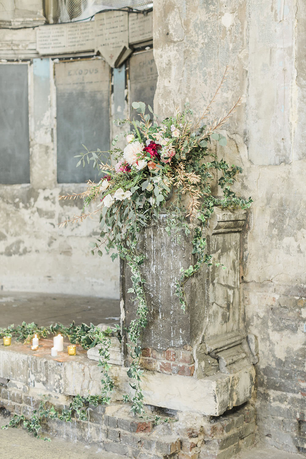 Ceremony Flower Arrangement Greenery Foliage Ivy Dahlia Burgundy Gold Wedding Ideas Sarah Porter Photography