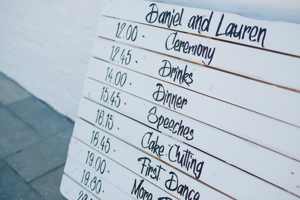 Wooden Pallet Sign Painted Calligraphy Order Timings Day Ceridwen Centre Wedding Love Seen Photography
