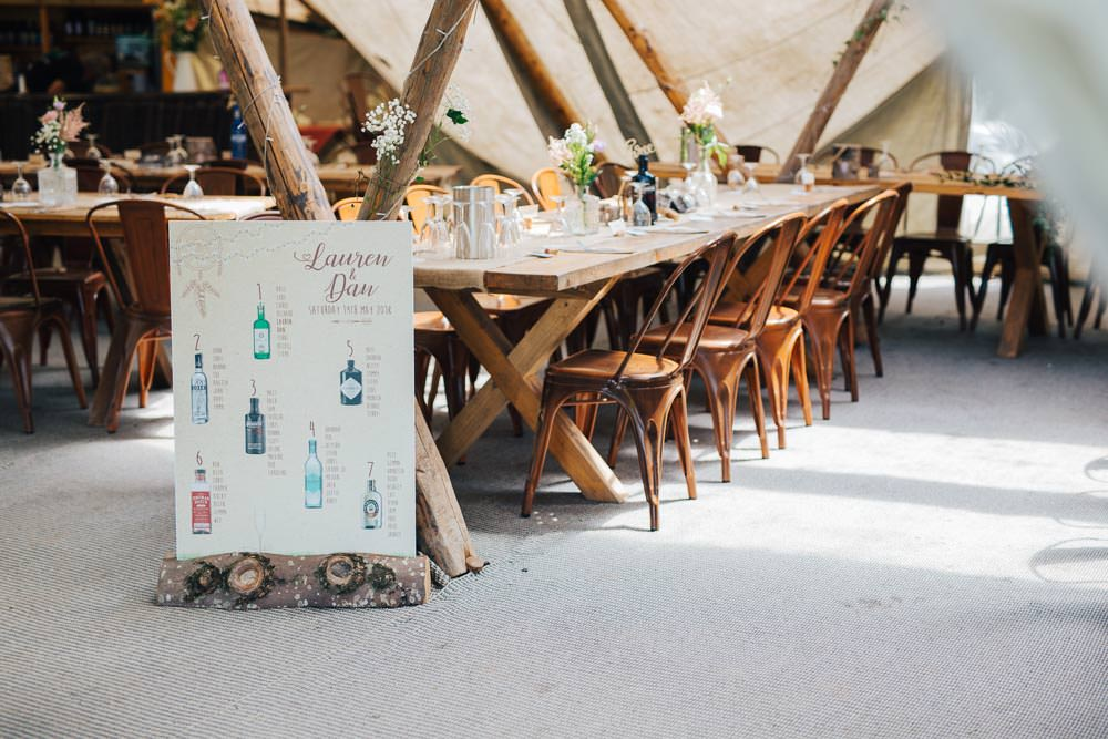Rustic Tipi Seating Plan Table Chart Gin Bottles Industrial Metal Chairs Seating Wooden Tables Ceridwen Centre Wedding Love Seen Photography