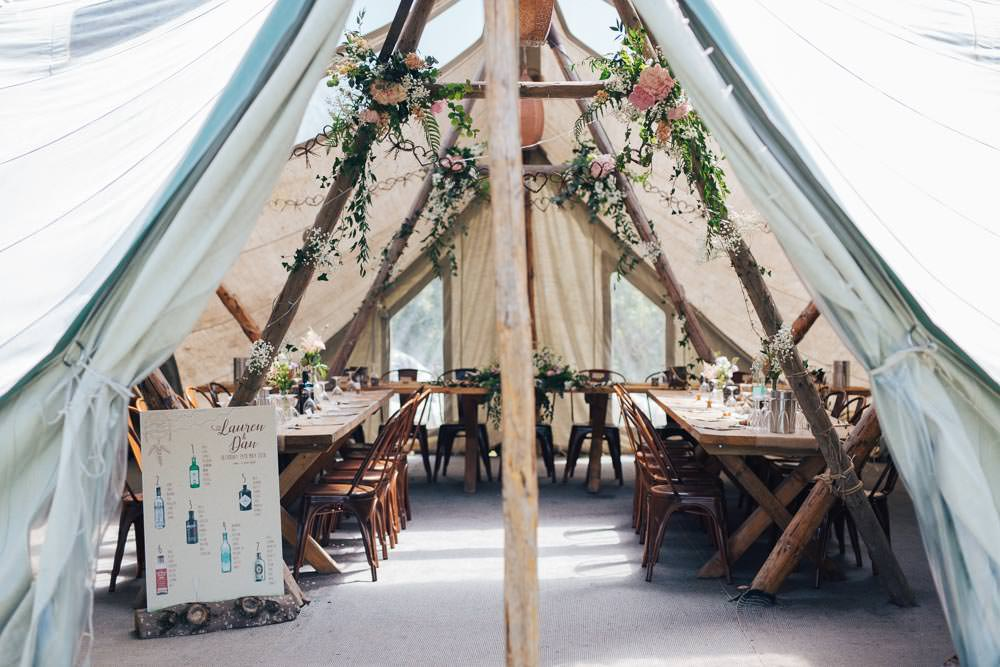 Rustic Tipi Seating Plan Table Chart Gin Bottles Industrial Metal Chairs Seating Wooden Tables Pole Flowers Ceridwen Centre Wedding Love Seen Photography