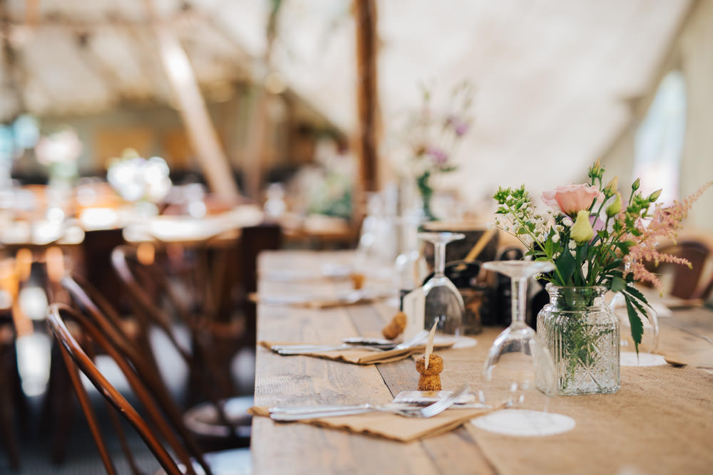 Rustic Tipi Flowers Vase Industrial Metal Chairs Seating Wooden Tables Ceridwen Centre Wedding Love Seen Photography