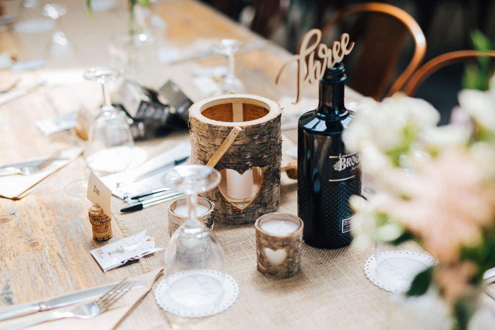 Log Bark Candles Laser Cut Table Name Number Ceridwen Centre Wedding Love Seen Photography