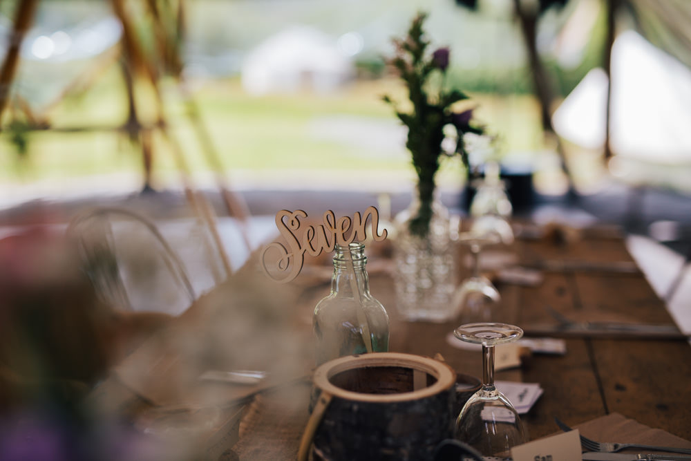 Wood Laser Cut Table Number Ceridwen Centre Wedding Love Seen Photography