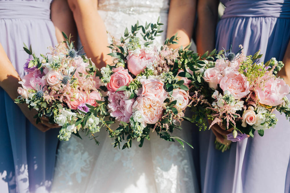 Bouquets Flowers Bride Bridal Bridesmaid Pink Peony Peonies Rose Thistle Greenery Foliage Ceridwen Centre Wedding Love Seen Photography