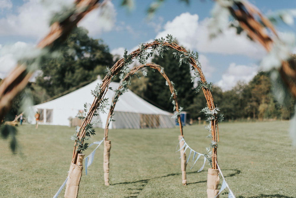 Willow Hazel Arch Greenery Bunting Aisle Countryside Wedding Cotswolds Kate Waters Photography