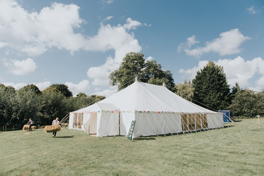 Wooden Pole Tent Marquee Field Countryside Wedding Cotswolds Kate Waters Photography