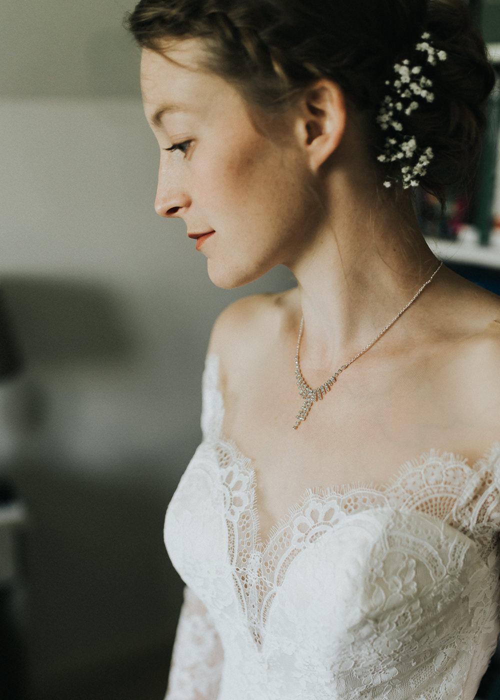 Lace Dress Gown Bride Bridal Sleeves Buttons Illusion Plunge Long Make Up Countryside Wedding Cotswolds Kate Waters Photography