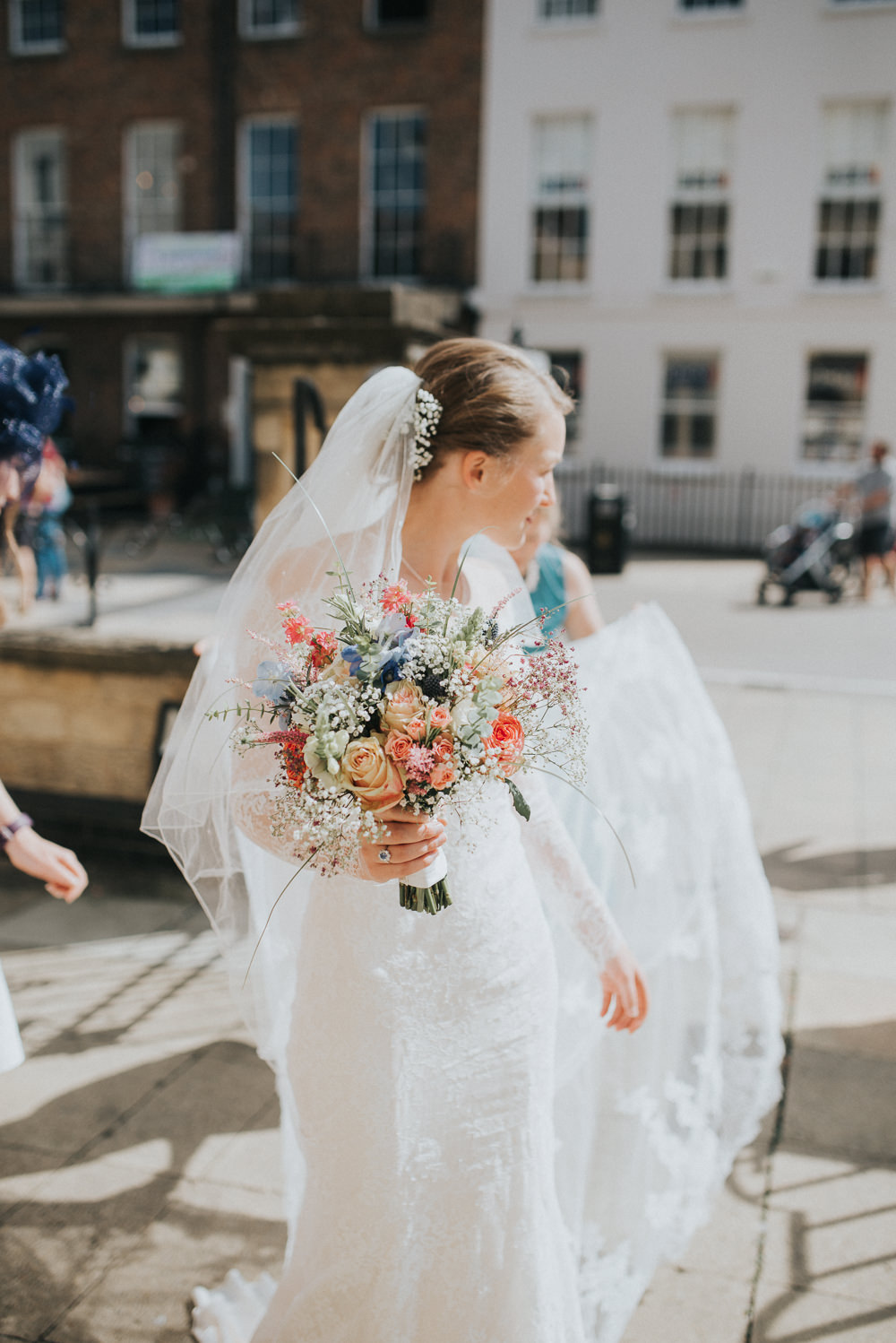 Lace Dress Gown Bride Bridal Sleeves Buttons Illusion Plunge Long Bouquet Flowers Pretty Countryside Wedding Cotswolds Kate Waters Photography