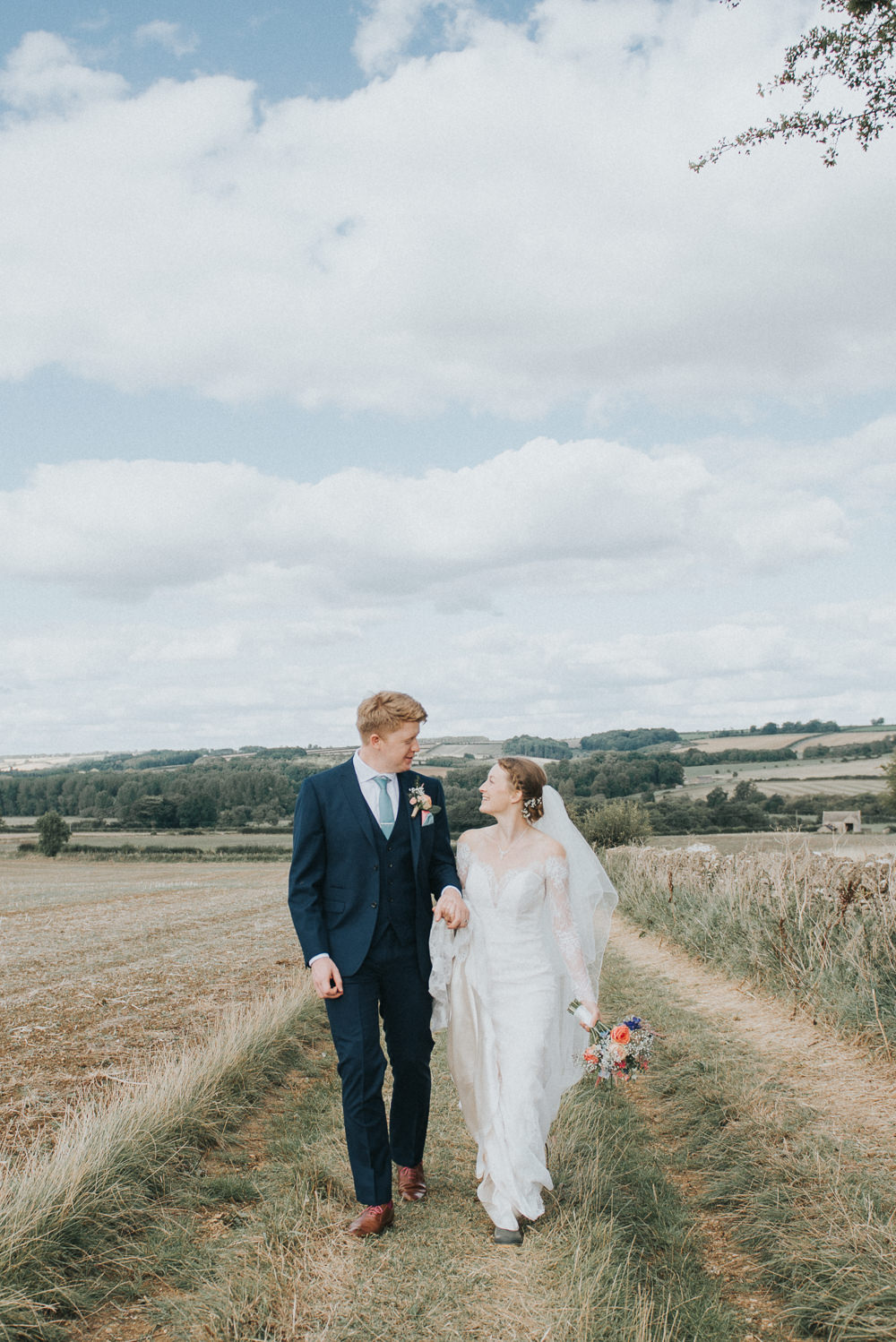 Navy Suit Groom Teal Tie Countryside Wedding Cotswolds Kate Waters Photography