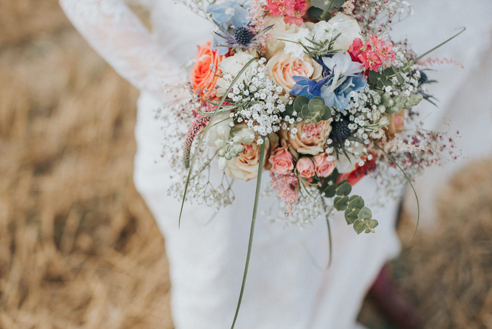 Bride Bridal Flowers Bouquet Pretty Pink Rose Gypsophila Countryside Wedding Cotswolds Kate Waters Photography