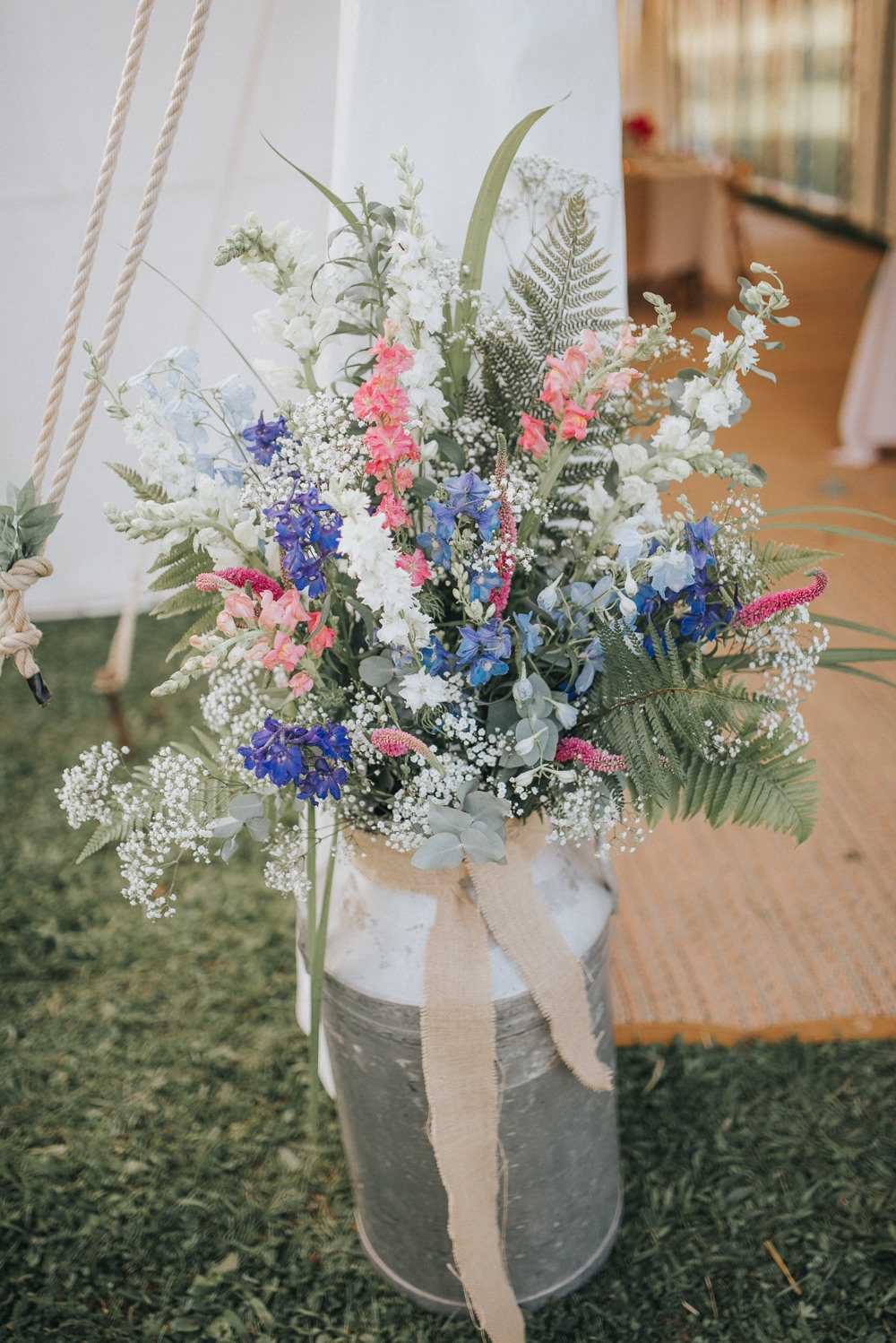 Milk Churn Flowers Summery Gyphophila Pink Blue Grenery Hessian Countryside Wedding Cotswolds Kate Waters Photography