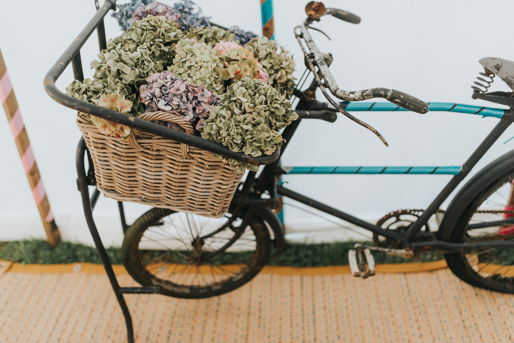 Bike Bicycle Flowers Basket Hydrangea Countryside Wedding Cotswolds Kate Waters Photography
