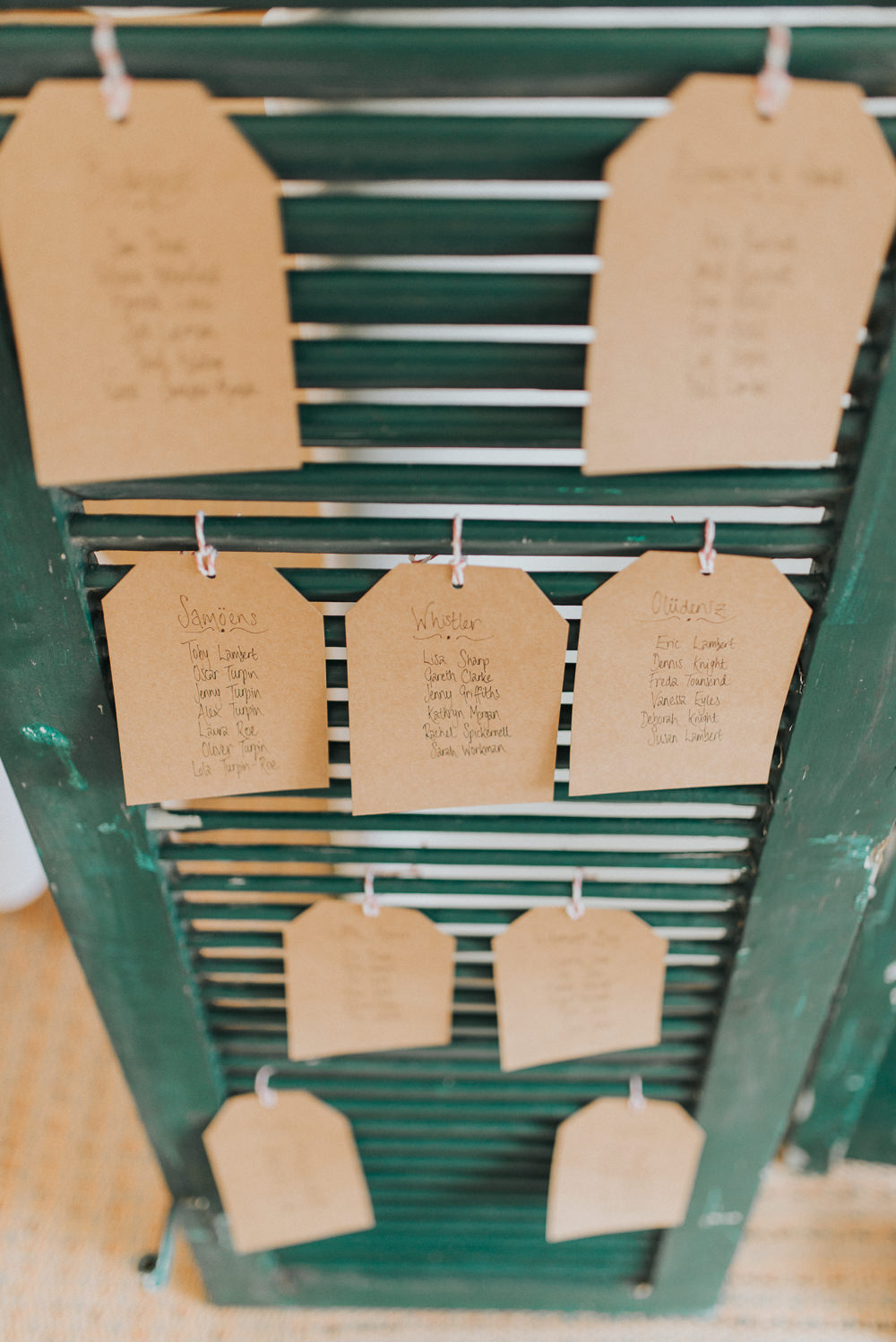 Wooden Shutter Luggage Tag Seating Plan Table Chart Countryside Wedding Cotswolds Kate Waters Photography