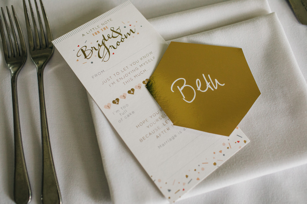 Gold Stationery Menu Place Name Deer Park Country House Hotel Wedding Richard Skins Photography