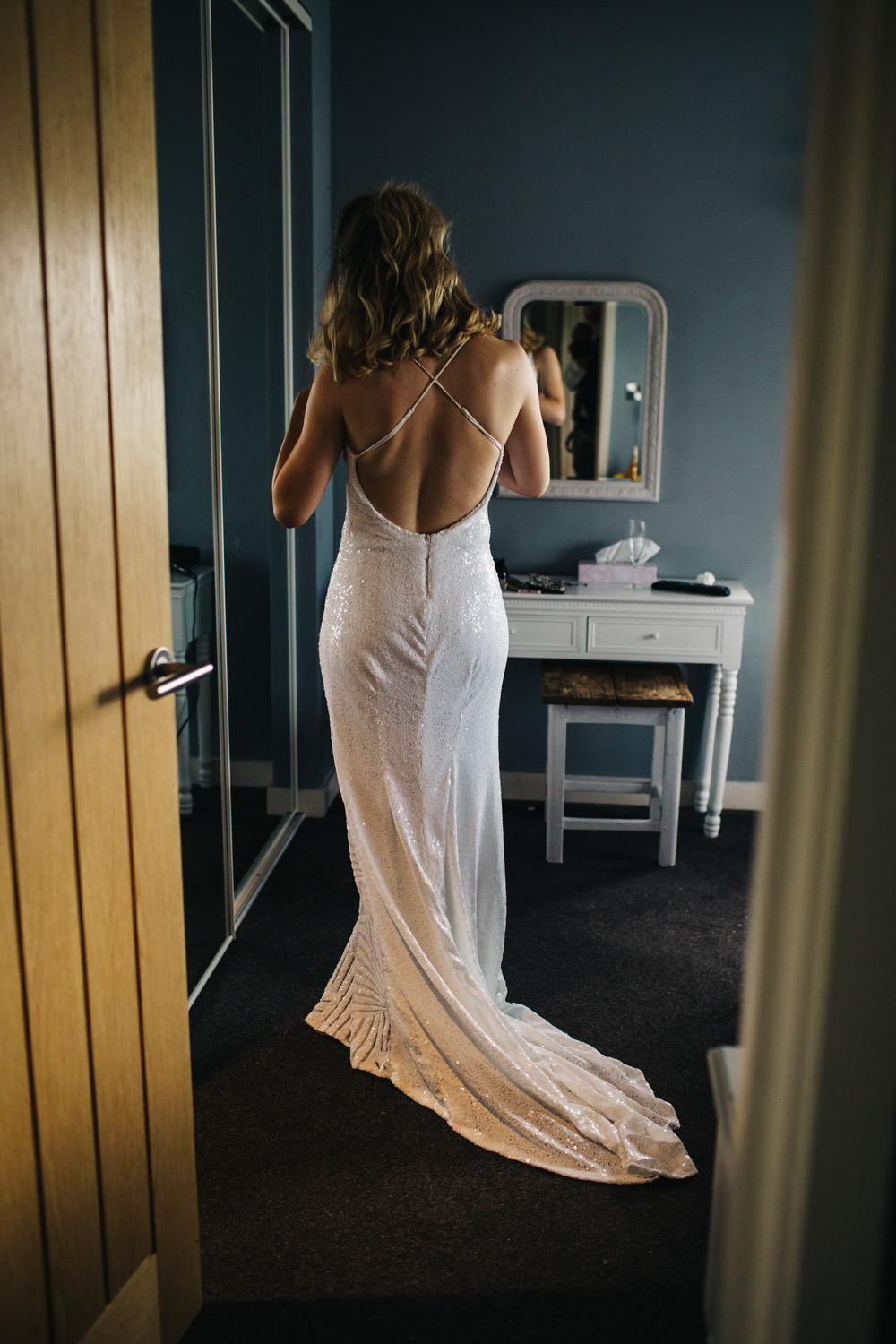 Sequin Dress Bride Bridal Gown Spaghetti Straps Spilt Skirt Train Deer Park Country House Hotel Wedding Richard Skins Photography