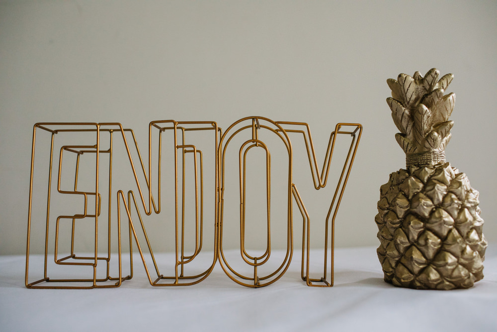 Gold Pineapple Decor Enjoy Sign Deer Park Country House Hotel Wedding Richard Skins Photography