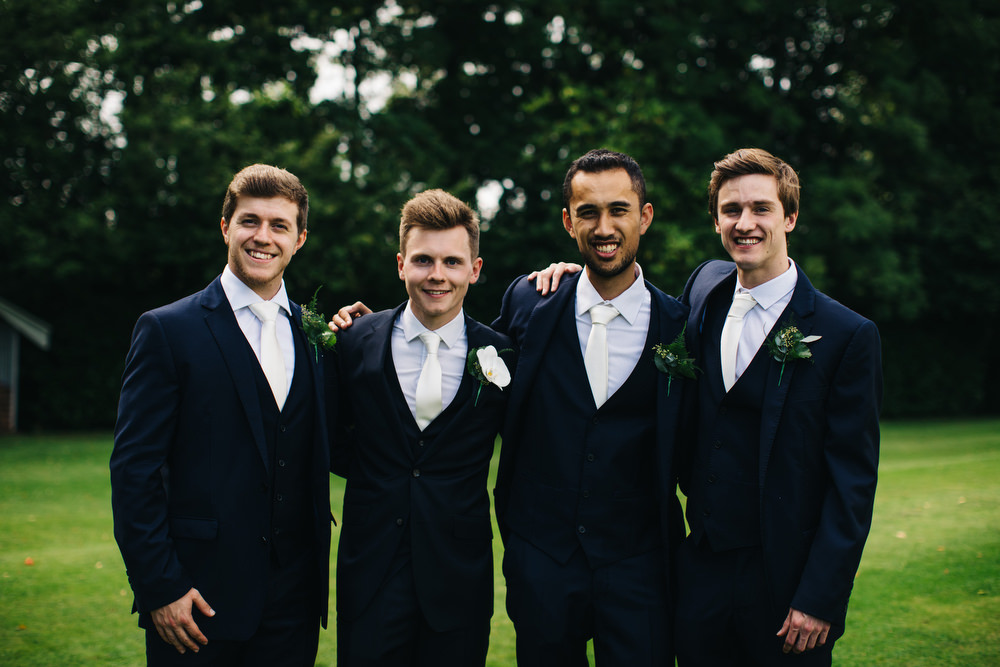 Groom Groomsmen Navy Suits White Ties Deer Park Country House Hotel Wedding Richard Skins Photography