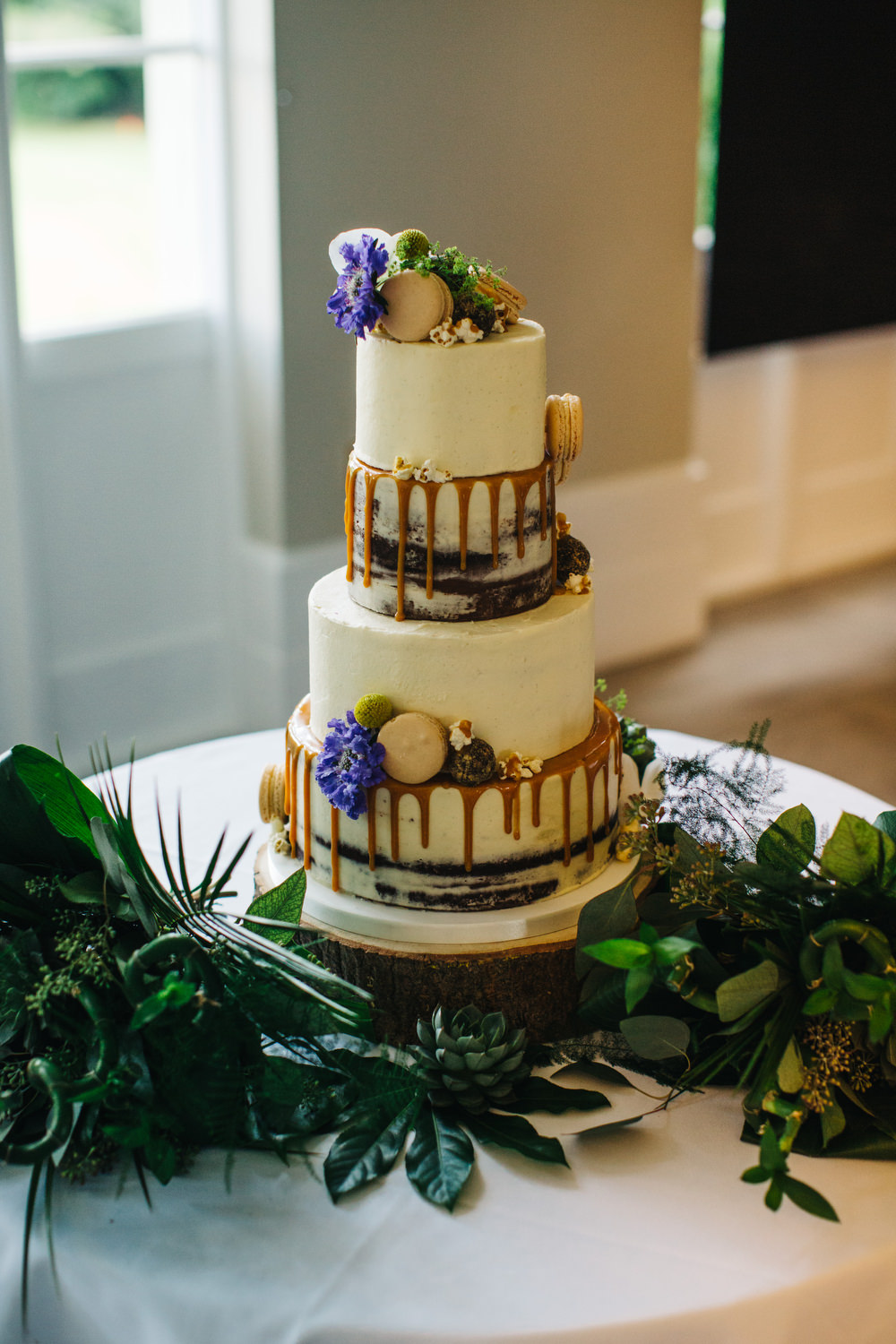 Buttercream Cake Drip Macaron Popcorn Flowers Chocolate Tropical Deer Park Country House Hotel Wedding Richard Skins Photography