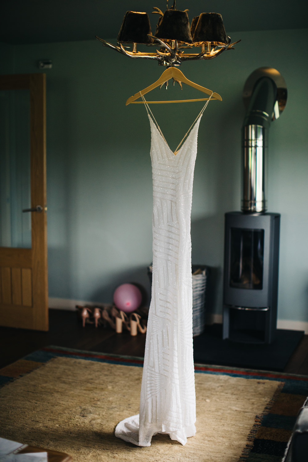 Sequin Dress Bride Bridal Gown Spaghetti Straps Spilt Skirt Deer Park Country House Hotel Wedding Richard Skins Photography