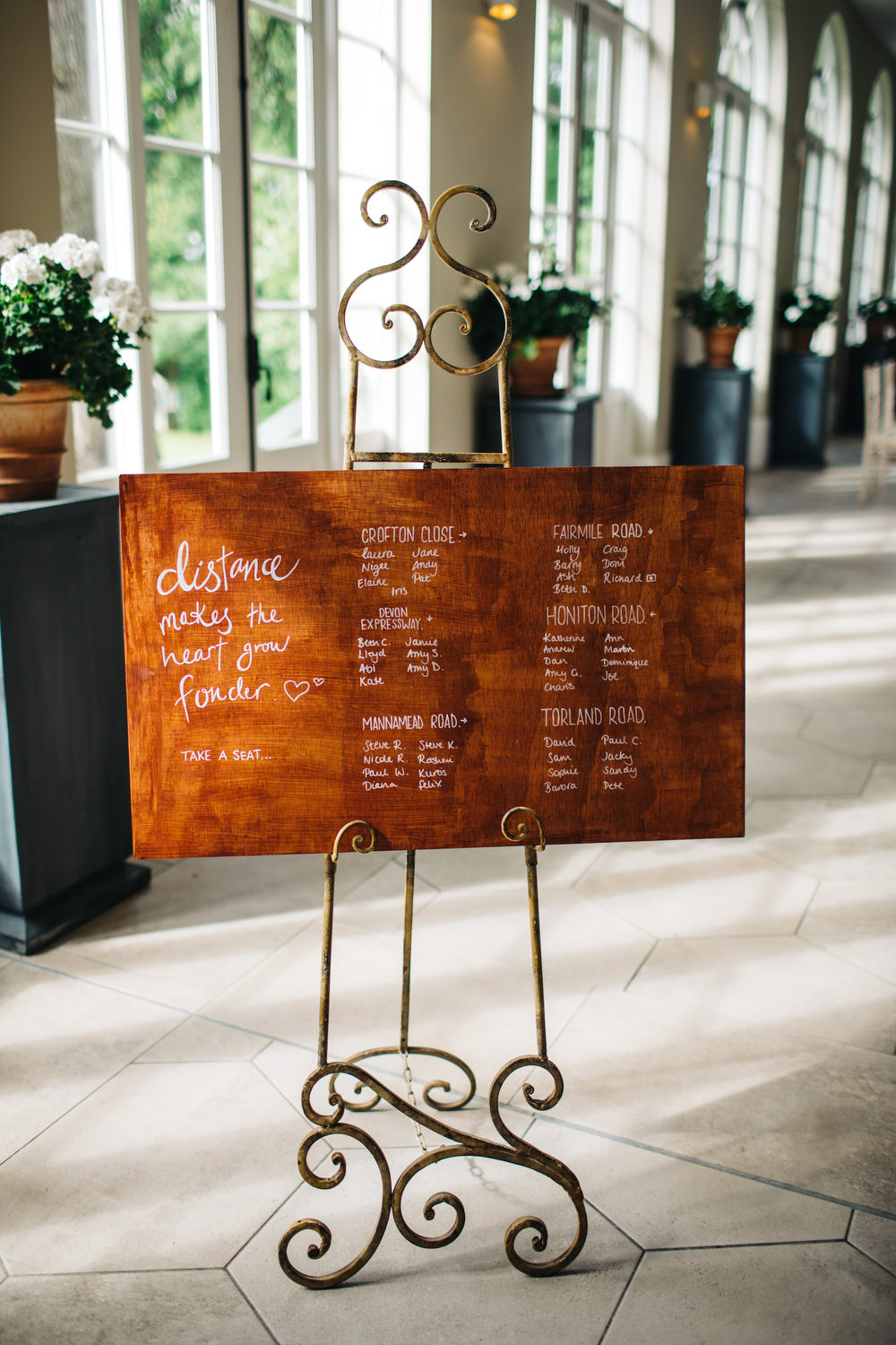 Rustic Wooden Sign Seating Plan Table Chart Calligraphy Deer Park Country House Hotel Wedding Richard Skins Photography