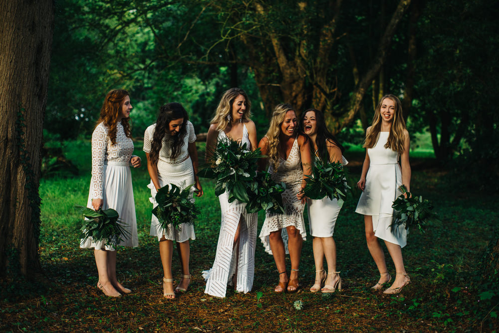 White Mismatched Bridesmaid Dresses Tropical Bouquets Flowers Deer Park Country House Hotel Wedding Richard Skins Photography