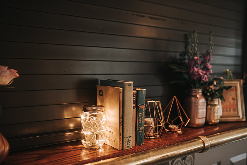 Books Candles Lights Folly Farmhouse Mackworth Wedding Pear&Bear Photography