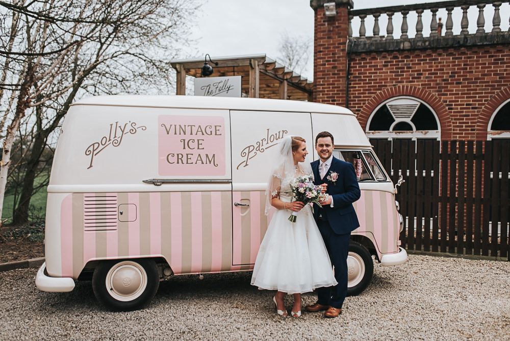 Ice Cream Van Truck Pink Folly Farmhouse Mackworth Wedding Pear&Bear Photography