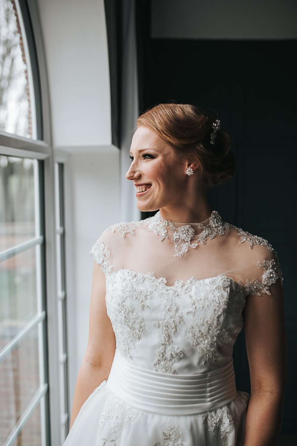 Dress Gown Bride Bridal Lace Sweetheart Folly Farmhouse Mackworth Wedding Pear&Bear Photography