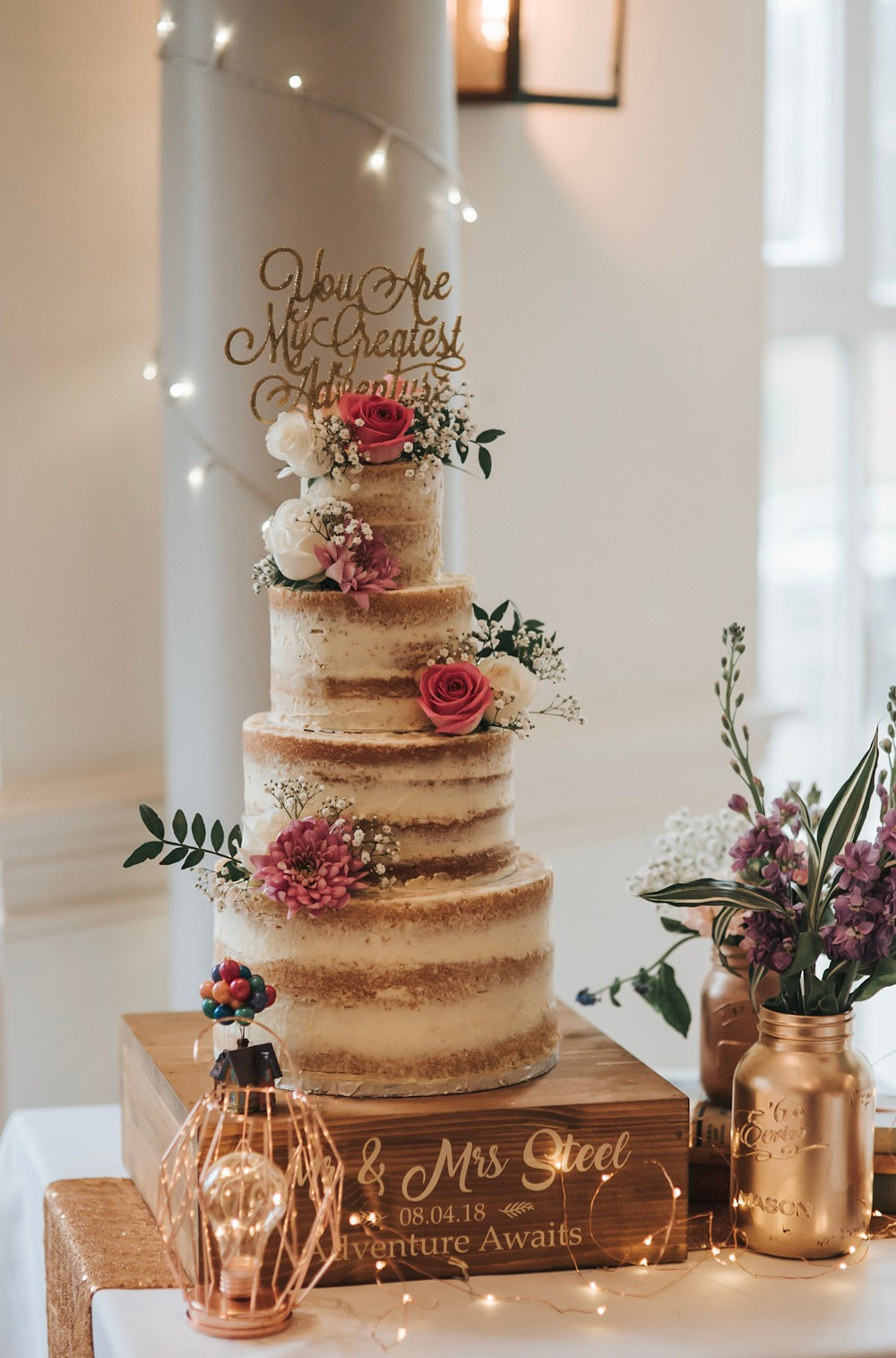 Naked Cake Tall Buttercream Semi Flowers Glitter Gold Quote Topper Folly Farmhouse Mackworth Wedding Pear&Bear Photography