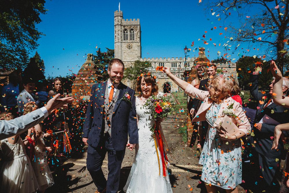 Confetti Throw Furtho Manor Farm Wedding Ben Cotterill Photography