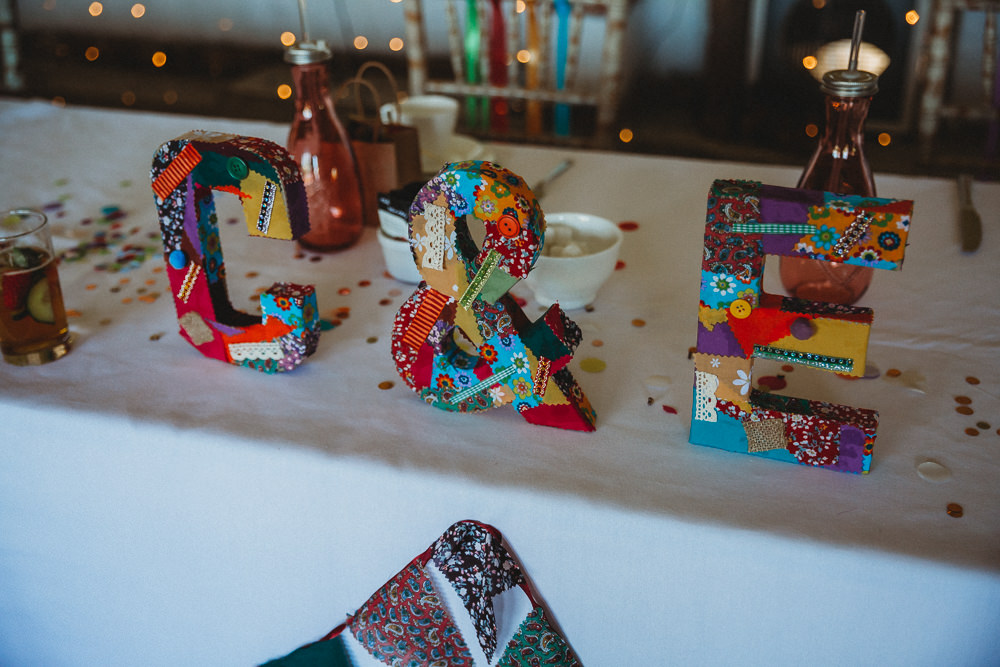 Initials Letters Colourful Decor Furtho Manor Farm Wedding Ben Cotterill Photography