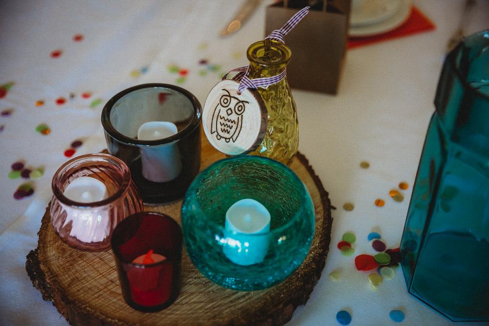 Colour Glass Tea Lights Furtho Manor Farm Wedding Ben Cotterill Photography