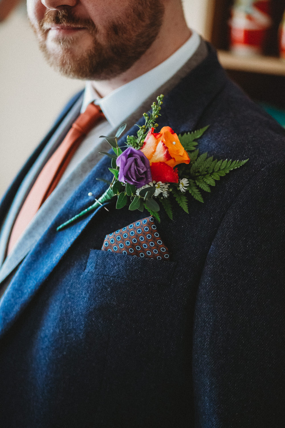 Groom Buttonhole Flowers Gern Rose Pocket Square Furtho Manor Farm Wedding Ben Cotterill Photography