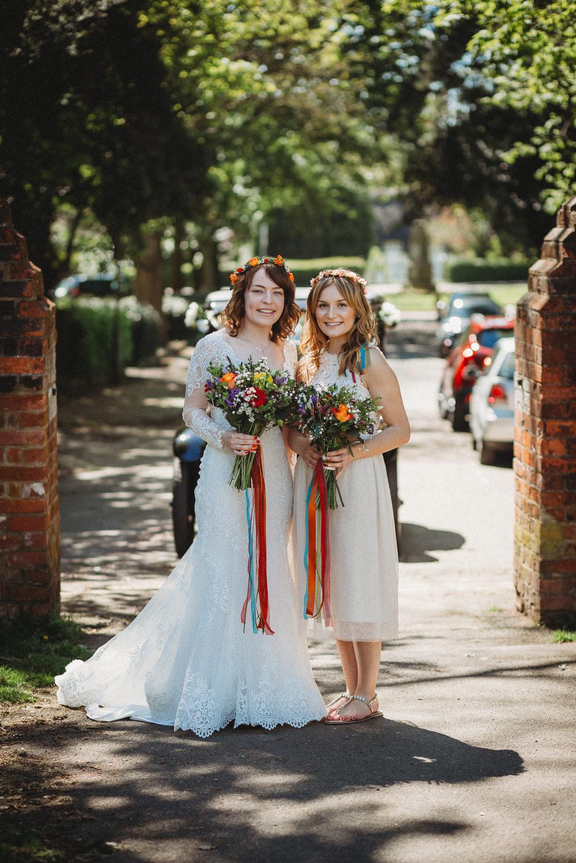 Short White Bridesmaid Dress Furtho Manor Farm Wedding Ben Cotterill Photography