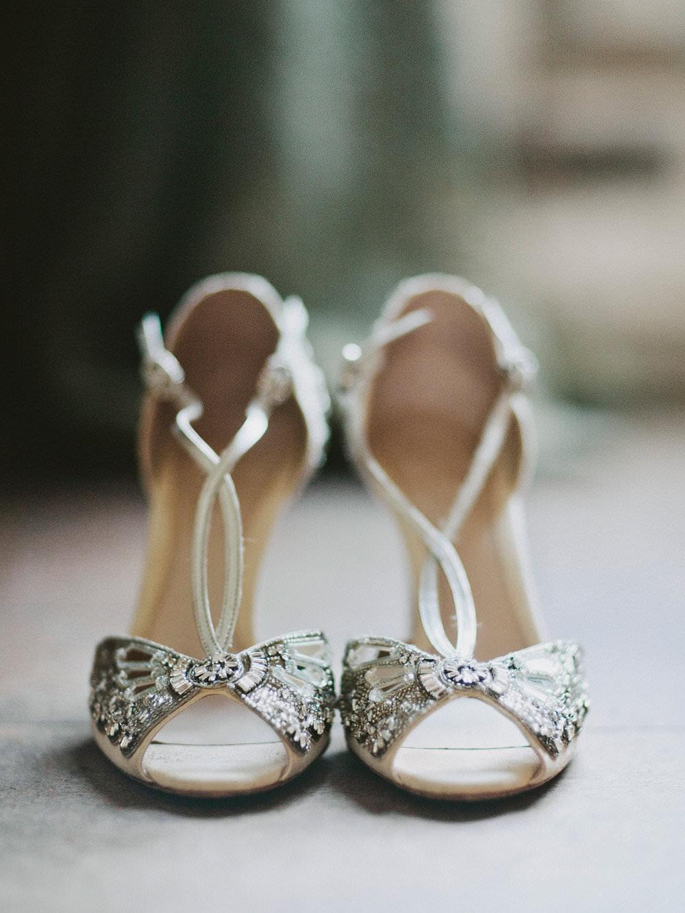 Bride Bridal 1930s T Bar Shoes Sandals Emmy London Glamorous Vintage Eggington House Wedding Ideas David Jenkins Photography